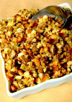 A luscious gluten-free stuffing for Thanksgiving - complete with ginger, persimmons, and apples.