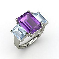 Emerald-Cut Amethyst 14K White Gold Ring with Aquamarine - Naked Emerald Triple Ring   Gemvara