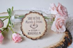 These adorable rustic magnets are made from wood slices. Each one is hand stamped in your choice of colors. These are totally unique favor magnets and are perfect for your save-the-dates!
