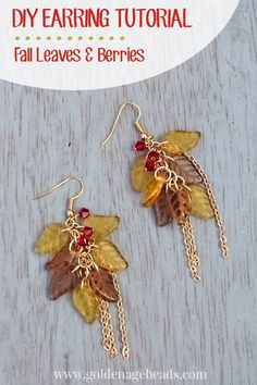awesome DIY Bijoux - how to make these beautiful Fall Leaves & Berries earrings. #Beading #Jewelry #T...