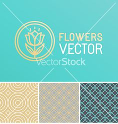Floral logo design element vector line patterns by venimo on VectorStock®