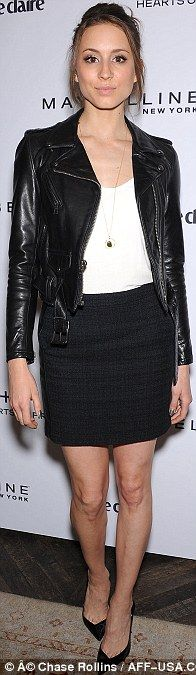 Best dressed @ Marie Claire's Fresh Faces party | Trojan Bellisario in a black and white combo featuring a leather biker jacket, mini skirt and pumps
