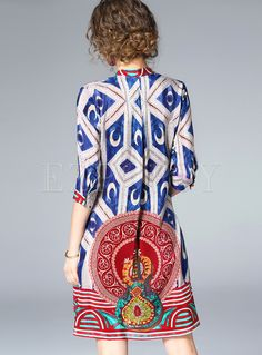 Shop for high quality Ethnic V-neck Loose Print Shift Dress online at cheap prices and discover fashion at Ezpopsy.com