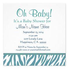 white and blue zebra print baby shower invite  #babyboy #babyshower #animalprintbabyshower @Jessica Hodge