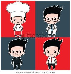 flat vector chibi kawaii cute boy kid on chef, doctor, and businessman costume Chibi Boy, Anime Chibi, Kawaii Anime, Manga Anime, Cute Anime Boy, Anime Guys, Cute Boys, Kids Boys, Bakery Logo