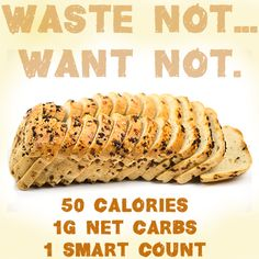 ThinSlim Foods Love-the-Taste Bread is only 1g of net carbs and 50 calories per slice!   See this and all the ThinSlim Foods products at www.thinslimfoods.com