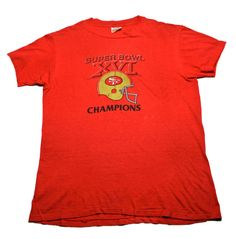 Vintage 1980s 80s 1982 San Francisco Forty Niners 49ers Super Bowl XVI Champions Shirt Made in USA Mens Sportswear Size Large
