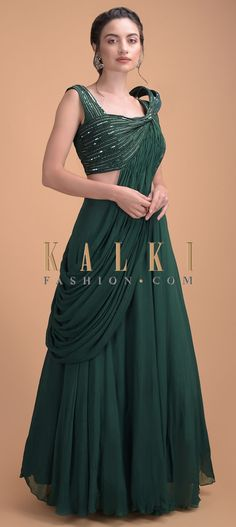 Forest green plain skirt in georgette. Teamed with a matching silk blouse embellished with cut dana, beads and sequins in striped pattern. Saree Blouse Patterns, Saree Blouse Designs, Silk Skirt, Western Outfits, Indian Designer Wear, Skirt Outfits, Indian Dresses, Salwar Kameez