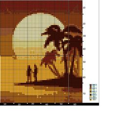 Sunset couple palm tree island
