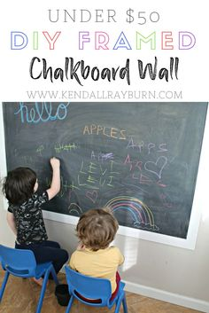 UNDER $50 DIY FRAMED CHALKBOARD WALL | So simple and your kiddos will LOVE it! [ad]