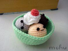 Kawaii amigurumi ice cream sundae by mohu mohu, via Flickr