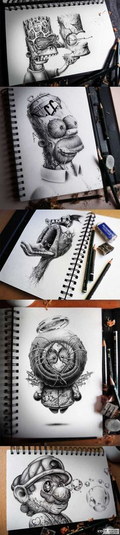 Different ways to draw famous cartoon characters -