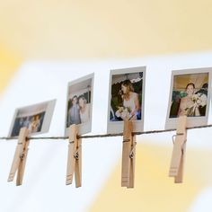 DIY Rustic Clothespin Picture Display Ceremony Decor