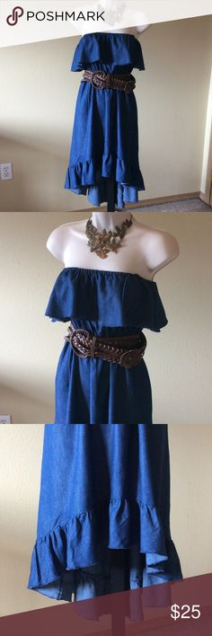 America Rag Denim Dress Sz M Adorable denim sun dress, strapless with elastic waist. A bit of a high/low effect, ruffled top and bottom...but not too much. Denim is very light. Belt NOT included. Overall in mint condition. American Rag Dresses Strapless