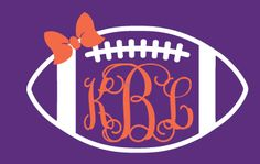 Preppy Football Monogram Car Decal