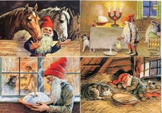 9 NEW Assorted Swedish Christmas Postcards by Jenny Nystrom Tomte Gnome Lucia www.giftchaletauburn.com