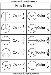 Color the Fraction - 4 Worksheets - FREE PRINTABLE WORKSHEETS