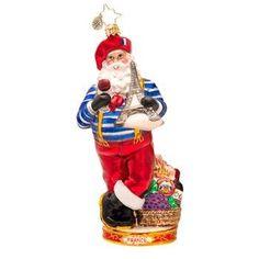 Christopher Radko Glass Oh La La French Santa Christmas Ornament