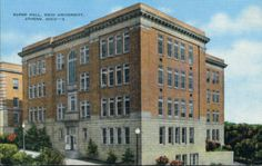 Super Hall, colored postcard. Named in honor of Charles WIlliam Super, 8th president of OU, and completed in 1926. Super Hall provided more labs and classrooms for rapidly expanding engineering programs. It was demolished in 1976. Bentley Annex built in this location in 2002-2003. :: Ohio University Archives