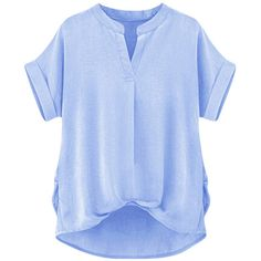 Womens Plain Stand Collar High Low Short Sleeve Blouse Light Blue ($27) ❤ liked on Polyvore featuring tops, blouses, stand collar blouse, blue top, blue blouse, short sleeve tops and short sleeve blouse