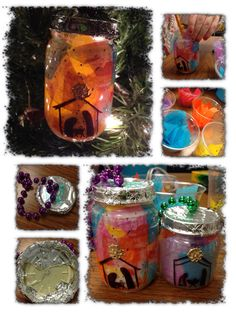 Nativity ornament: baby jar, glue foil on lid, wire Mardi Gras beads to lid, paint glitter glue inside, stick tissue paper in, draw on nativity with marker, glue on star, and lastly, put a battery tea light in it...enjoy!