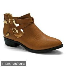 a32ef4bfe9cf9d Betani Women s Buckle Cut Out Ankle Boots