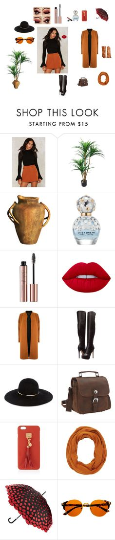 Hi and Good-Bye ....maybe by ny-leatherrose on Polyvore featuring Warehouse, Chinese Laundry, Eugenia Kim, Vagabond Traveler, Saks Fifth Avenue Collection, Henri Bendel, Lulu Guinness, Charlotte Russe, Lime Crime and Marc Jacobs