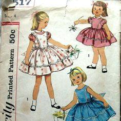 1950s Girls Dress Pattern With Pinafore by kalliedesigns on Etsy, $7.99