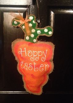 Stuffed burlap carrot door hanging by TheSparkleFairies on Etsy, $20.00