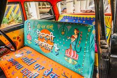 Inspired by Indian truck art, ODDS created Keep Distance project for Taxi Fabric to promote road safety in Mumbai, India. Indian Illustration, Graphic Illustration, Hand Painting Art, Painting On Wood, Street Installation, India Design, Truck Art, Arte Popular, Creative Industries