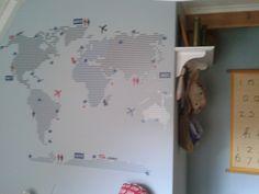 Wereldkaart op de muur, stoer op een jongenskamer! - door Tamara de Boer