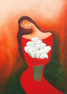woman with callas (Painting),  70x100 cm by Anita Burnaz oil on canvas _______________ Please visit my auctions by artbyus .  com  my seller account - originalart