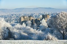 Ludlow Castle in heavy frost - a perfect Christmas picture