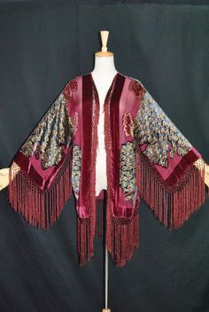 Hippie Peacock Duster Kimono Opera Coat Silk Burnout Velvet Burgundy Multi Short | eBay