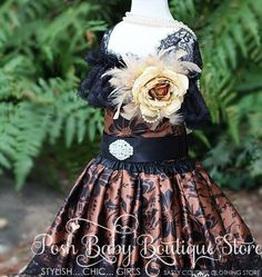 Vintage Flower Girls Feather Dress