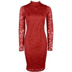 Boohoo Cait High Neck Lace Long Sleeved Midi Dress | Boohoo ($35) ❤ liked on Polyvore featuring dresses, lacy red dress, high neck dress, red midi dress, midi dresses and longsleeve dress