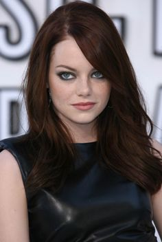 Emma Stone--beautiful rich brown hair color, with effortless-looking wavy style.