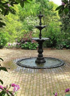 Adding a chic fountain in the backyard contributes to a much-needed statement. See our recommended garden water fountains here to inspire you. Gothic Garden, Victorian Gardens, Garden Pool, Water Garden, Landscape Design, Garden Design, Garden Water Fountains, Fountain Garden, Pool Fountain