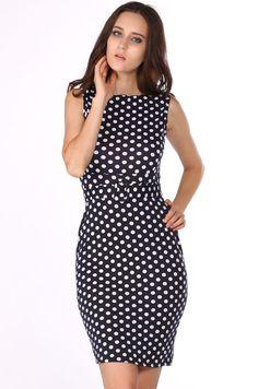 $10.02 New Celeb Style Dot Pattern Ladies Blue Pencil Evening Slimming Panel Tea Dress