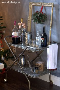 Update an old rolling cart into a cute bar cart with a little paint and stencil eclecticallyvintage.com