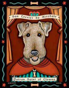 Airedale Terrier Art - Patron Saint of Clowns - 8x10 art print by Krista Brooks