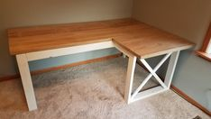 L Shaped Double X Desk - Handmade Haven Diy Office Desk, Diy Computer Desk, Diy Wood Desk, Diy Desk, Diy Furniture Plans, Diy Furniture Projects, Pipe Furniture, Furniture Vintage, Modern Furniture