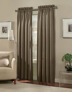 #Beautiful Living Room Decoration Using Brown Rod Pocket Linen Curtain - Hupehome