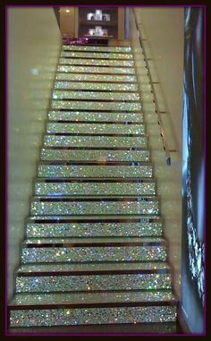 I walked on this stair case. Champs de leis Swarovski Crystal store. Paris France
