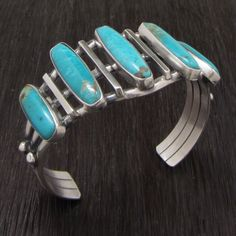 Handmade Sterling Silver Cuff Bracelets w/ 5 Turquoise Stones RB