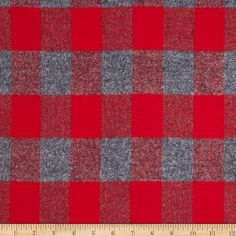Kaufman Mammoth Flannel Plaid Red from @fabricdotcom  Designed for Robert Kaufman Fabrics, this soft double napped (brushed on both sides) medium weight (6.1 oz per square yard) flannel is perfect for shirts, loungewear and more! Features a yarn dyed plaid of red and grey.  Remember to allow extra yardage for pattern matching.