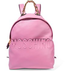 Moschino - Embossed Leather Backpack (50.755 RUB) ❤ liked on Polyvore featuring bags, backpacks, pink, leather zipper backpack, moschino bags, leather zip backpack, moschino and leather knapsack