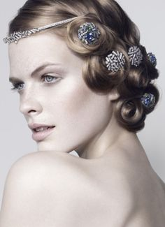 Waved Pincurls with Embellishment