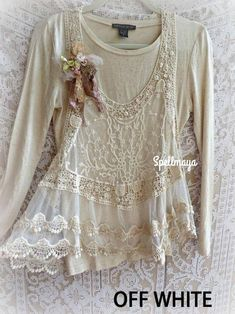 Shabby Chic Outfits, Boho Outfits, Vintage Outfits, Romantic Outfit, Romantic Lace, Romantic Clothing, Hippie Style, Bohemian Style, Top Boho