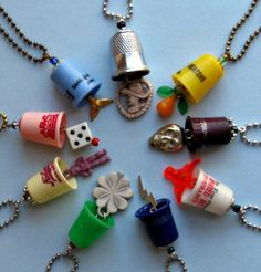 Design Your Own Thimblism Necklace - Upcycled Thimble and Charm Pendant on a Chain of Your Choice. $28.00, via Etsy.